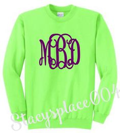 monogrammed sweater, monogrammed sweatshirt, monogrammed shirt, personalized sweater, neon green sweater
