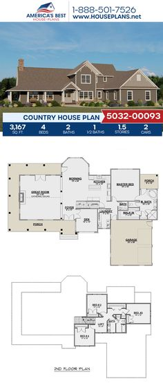 Plan 5032-00093 outlines a Country home design with 3,167 sq. ft., 4 bedrooms, 2.5 bathrooms, a breakfast nook, a kitchen island, an open floor plan, a wrap-around porch, and a loft. #country #architecture #houseplans #housedesign #homedesign #homedesigns #architecturalplans #newconstruction #floorplans #dreamhome #dreamhouseplans #abhouseplans #besthouseplans #newhome #newhouse #homesweethome #buildingahome #buildahome #residentialplans #residentialhome Best House Plans, Dream House Plans, Dream Houses, House Floor Plans, Craftsman Style Homes, Craftsman House Plans, Tiny Homes, New Homes, New Home Construction