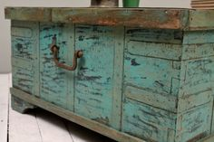 Turquoise Green Reclaimed Salvaged Antique by hammerandhandimports