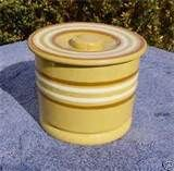 Image detail for -Yellow Ware Butter Crock w White Rust Stripes Lid | eBay