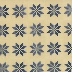 Nature�s Basket - blue cross-stitch small snowflake motif on cream 2722-13