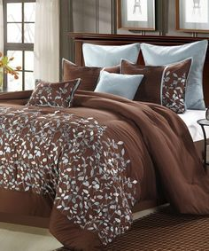 Take a look at this Brown Jardin Embroidered Comforter Set by Chic Home Design on #zulily today!