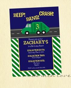 Garbage/Trash Truck party invitation by MadeWithLoveJJ on Etsy