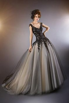 Sheer Black Wedding Dresses Vintage Gothic Beaded Appliques Lace Brush Train Bridal Gown Cap Sleeves