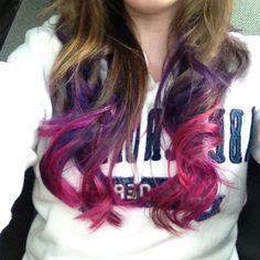my hair is like this now just a bit more red :) Ombre purple hair with blended pink tips