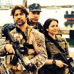 Wolf Taylor, Ravit Bivas, and Cruz. #thelastship