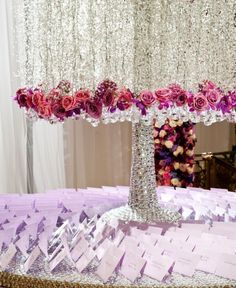 The card table leading up to the main event. Planned, designed and styled by Marcy Blum and Preston Bailey Too pretty! And it looks like a willow tree which will go with my theme Reception Decorations, Event Decor, Wedding Centerpieces, Wedding Table, Event Ideas, Party Ideas, Preston Bailey Wedding, Table Cards, Wedding Events