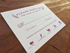 Vintage winery letterpress wedding invitation RSVP card | It's Amore Design + Letterpress