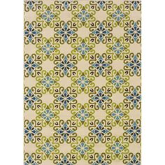 This floral design indoor/outdoor area rug will make your outdoor spaces feel more like home and features shades of ivory, blue, green and brown. This durable polypropylene rug will endure the element