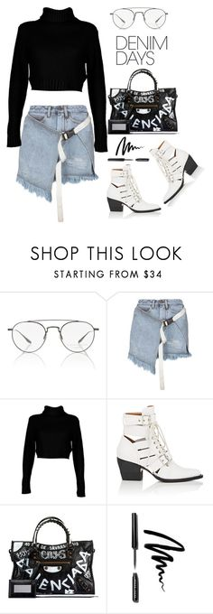 """""""Palm Angels Skirt"""" by thestyleartisan ❤ liked on Polyvore featuring Barton Perreira, Palm Angels, Boohoo, Chloé, Balenciaga, Bobbi Brown Cosmetics and denimskirts"""
