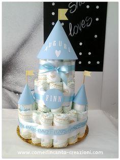 Diaper cake - torta di pannolini - idea regalo nascita battesimo - come d'incanto - carlinifd
