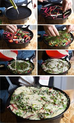 Rainbow Chard Korean Pancake, chiffonade veggies trapped in a light rice flour batter…simply scrumptious! Snack Recipes, Healthy Recipes, Snacks, Healthy Food, Korean Pancake, Rainbow Chard, Korean Food, Korean Recipes, Vegan Pancakes