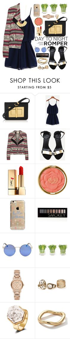 """""""Day to Night : Rompers"""" by oshint ❤ liked on Polyvore featuring Tom Ford, Etro, Yves Saint Laurent, Milani, Agent 18, Forever 21, NDI, Burberry, Ippolita and Gorjana"""