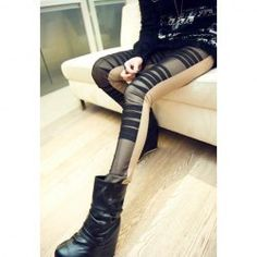 $7.09 Sexy Splicing Imitated Leather Crease Design Voile Leggings For Women