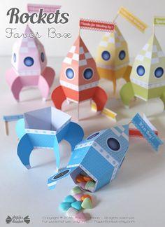 Boîtes fusée Printable éditable fusée boîte cadeau par PapierBonbon