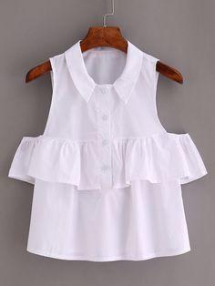 Camiseta de volante con hombro abierto -blanco