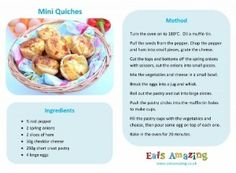 Mini quiches Recipe - Free printable easy recipe for kids - great for cooking with children