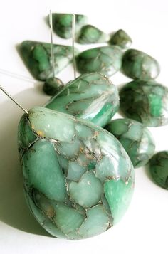 Faux Raw Emerald with Gold inclusion | by Leggende Segrete