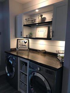 Rustic Laundry Rooms, Farmhouse Laundry Room, Laundry Room Design, Laundry In Bathroom, Small Laundry, Laundry Area, Laundry Closet, Laundry Room Remodel, Laundry Room Organization
