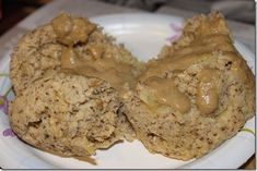 High Protein Banana Oat Microwave Muffin  2 tablespoons coconut flour  2 tablespoons oats  1/4 cup egg substitute (sometimes I use 1/2 cup)  1 banana  2 tablespoon light vanilla soymilk  1/2 teaspoon baking powder  splash of vanilla  cinnamon  1 Splenda packet  Mix all ingredients together, pour into large mugand microwave for 3 1/2-4 1/2minutes.  Topping: mix 1 tablespoon SunButter with a little almond milk – drizzle it on top  * I just had this and it was amazing!