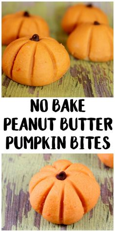 If you're looking for delicious pumpkin themed recipes & ideas this Fall and Halloween, you have to try these homemade NO BAKE peanut butter pumpkin bites! They're like peanut butter cookies and pumpkins put together but without the carving and with all the dessert! #halloweenfoods
