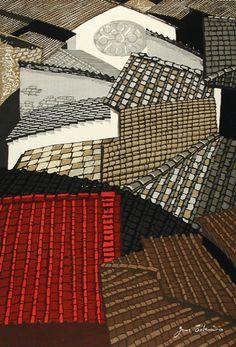 Sekino Jun'ichiro (Japan, Aomori, 'Roofs in Florence', 1959 - woodblock print Japan Design, Japanese Painting, Chinese Painting, Chinese Art, Art Japonais, Art Graphique, Japanese Prints, Japan Art, Woodblock Print