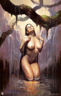 bare drawings Sexy female fantasy nude nipple