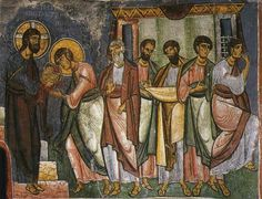 This is a fresco in Asinou  Church, Nikitari, Cyprus from ` 1106 CE. This shows…