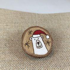 Santa polar bear wooden brooch, handpainted Christmas wooden pin, holiday pin, wood slice jewelry, wood burned original art, stocking pin. by MalamiStudio on Etsy https://www.etsy.com/listing/255045188/santa-polar-bear-wooden-brooch