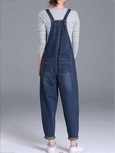 Designer Casual Denim Pockets Rompers For Women Informal Attire, Denim Jumpsuit, Overalls, Dungarees, Vintage Jumpsuit, Plus Size Jumpsuit, Playsuits, Street Style Women, Rompers