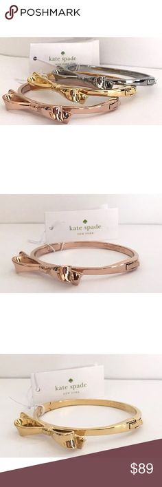 Kate Spade ♠️ Set of 3 Bangles New with tags!  1 Rose Gold, 1 Silver, 1 Gold comes with dust bag & gift boxes ✨I do not trade / price firm ✨I am happy to answer any questions! kate spade Jewelry Bracelets