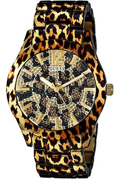 GUESS Ladies Fierce Leopard Print Watch