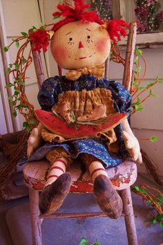 "Primitive 22"" Folk Art Raggedy Ann Doll With Watermelon & Little Mice~ Cute! #NaivePrimitive"