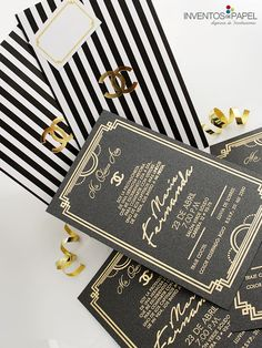 Inspirados en la elegancia de tu gran día #cocochanel #invitaciones #dorado Sweet Fifteen, Sweet 16, Birthday Invitations, Wedding Invitations, Chanel Party, 35th Birthday, Ideas Para Fiestas, Tiffany And Co, Anniversary Parties