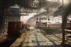 Berlin Hauptbanhof Naughty Dog artists John Walters and Peter Baustauer worked together to imagine what the post-apocalyptic world of The Last of Us would look like in places not covered by the game: the Roman Colosseum, London's Buckingham Palace, Berlin's Hauptbanhof, Paris's Eiffel Tower, and more.