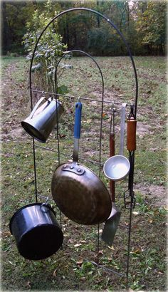 Use S hooks on a trellis to hang camping utensils/cookware!