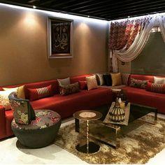 salon marocain moderne orange rouge