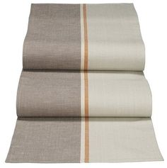 Linen table runner with taupe, grey, and terracotta - possible DIY? (find colored linen or fabric paint stripe on one-colored linen)