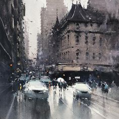 PleinAir Podcast Episode Joseph Zbukvic on the Evolution of Watercolor and More - OutdoorPainter Watercolor City, Watercolor Artists, Watercolor Landscape, Watercolor Illustration, Watercolor Paintings, Acrylic Paintings, Watercolours, Watercolor Pictures, Urban Landscape