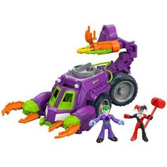 Fisher-Price Imaginext DC Super Friends Joker ; Harley Quinn Battle Vehicle, Multicolor