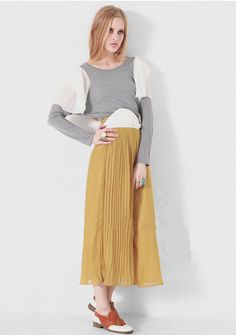 Yellow Pleated Chiffon Full Length Skirt