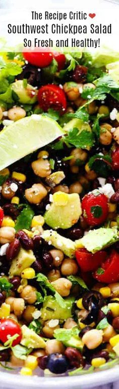 Southwest Chickpea Salad is a delicious and fresh chick pea salad filled so many delicious flavors and textures! This salad is fresh and healthy and easy to make! Chickpea Salad Recipes, Healthy Salad Recipes, Veggie Recipes, Vegetarian Recipes, Best Potluck Dishes, Potluck Recipes, Cooking Recipes, Party Recipes, What's Cooking