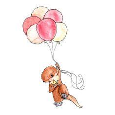 Floating 8x10 Nursery Art Print New Baby Girl Boy di ohhellodear