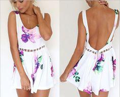 NEW Women Floral backless print Party Jumpsuit Romper Playsuit Shorts Pant #syt #Jumpsuit