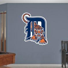 Detroit Tigers Logo REAL.BIG. Fathead Wall Graphic | Detroit Tigers Wall Decal | Sports Décor | Baseball Bedroom/Man Cave/Nursery