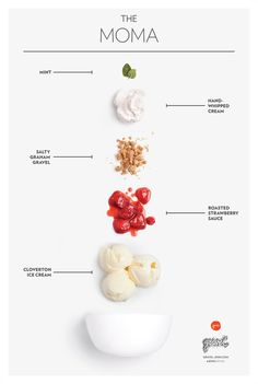 The MOMACloverton ice cream, Roasted Strawberry sauce, Salty Graham gravel, whipped cream, and mint. in Food styling Food Design, Web Design, Layout Design, Food Graphic Design, Art Resume, Design Package, Graham, Roasted Strawberries, Strawberry Sauce