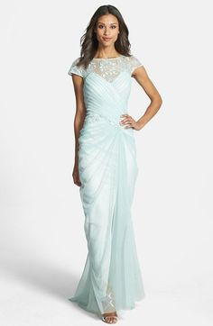 Tadashi Shoji Embellished Lace Ruched Mesh Gown available at #Nordstrom