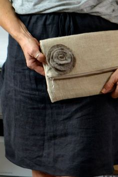 Fold over Envelope clutch Simple natural Linen & by DarbyMack $24