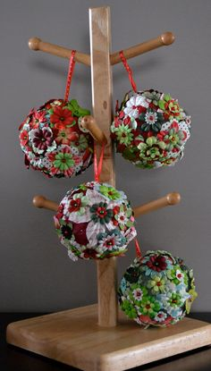 Flowery handmade Christmas ornaments