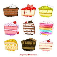 Peint à la main la collecte des gâteaux Vecteur gratuit